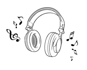 Vector illustration of a black and white headphones on a white background.