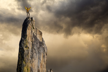 Climber on the edge. Wall mural