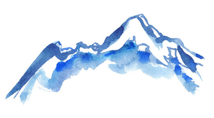 Blue snowy mountain peaks painted in watercolor on clean white background Wall mural