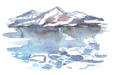 Northern sea landscape with snowy hills, glaciers and cold icy water painted in watercolor on clean white background