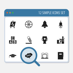 Set Of 12 Editable Science Icons. Includes Symbols Such As Tabulation, Goblet, Bell And More. Can Be Used For Web, Mobile, UI And Infographic Design.