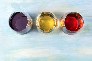 Red, white, and rose wine, overhead photo with copyspace