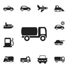 Set Of 12 Editable Transport Icons. Includes Symbols Such As Airplane, Garage, Carriage And More. Can Be Used For Web, Mobile, UI And Infographic Design.