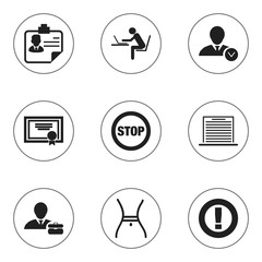 Set Of 9 Editable Complex Icons. Includes Symbols Such As Work Man, Identification, Caution And More. Can Be Used For Web, Mobile, UI And Infographic Design.