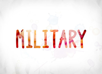 Military Concept Painted Watercolor Word Art