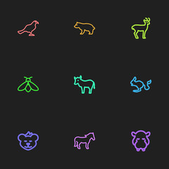 Set Of 9 Editable Animal Outline Icons. Includes Symbols Such As Deer, Hippo, Ocean Mew And More. Can Be Used For Web, Mobile, UI And Infographic Design.