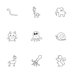 Set Of 9 Editable Animal Doodles. Includes Symbols Such As Slug, Tall Animal, Cancer And More. Can Be Used For Web, Mobile, UI And Infographic Design.