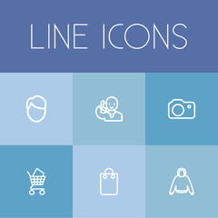 Set Of 6 Editable Trade Outline Icons. Includes Symbols Such As Talking On Phone, Handbag, Bargain. Can Be Used For Web, Mobile, UI And Infographic Design.