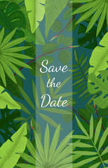 Save the Date Card Design with Tropical Leaves on Blue Background