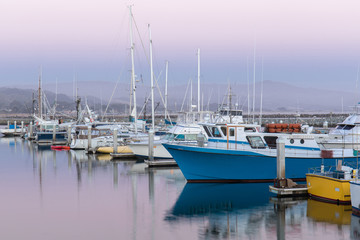 Pillar Point Harbor Dusk. Half Moon Bay, San Mateo County, California, USA.