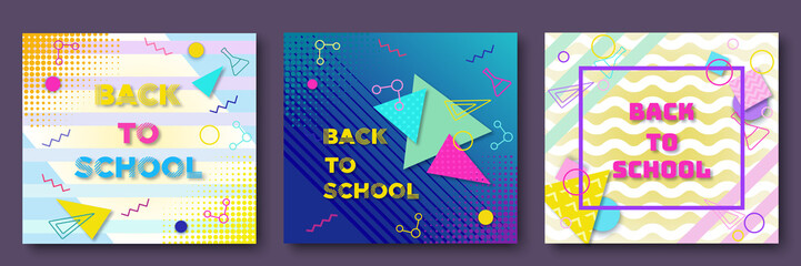Back to school posters set in trendy 90s geometric style with lines and triangles, shapes, text, template for banner, flyer, sale concept, bright color background vector illustration