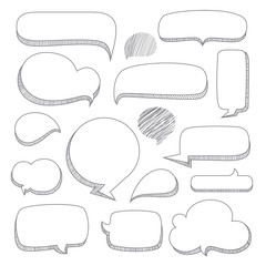 Speech bubbles. Set of hand drawn doodle style think & talk comic balloon, frame, cloud, balloon talk shaped design elements create by vector.