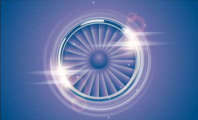 Jet Engine Turbine chrome ring in retro violet blue color style with lens flare light effect. Detailed Airplane Motor Front View. Vector aircraft turbo Fan of plane, machinery power icon symbol