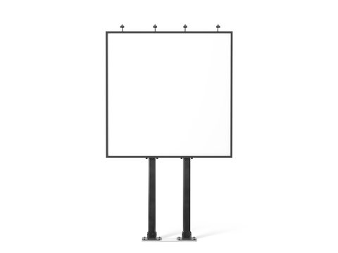 Blank white banner mockup on black city square billboard, 3d rendering. Empty bill board mock up isolated. Clear canvas template on sity street sign. Outdoor poster screen. Big cityboard signage stand