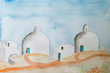 Aquarell Malerei, Gemälde mediterraner Architektur mit Kuppelbauten und Fußwegen, Griechenland