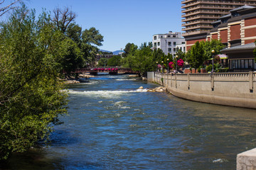 Bridge Crossing River From River Walk, Reno, Nevada
