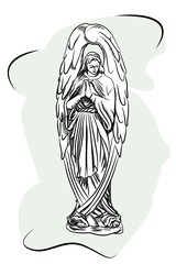Marble sculpture of a religious sorrowful angel. sketch