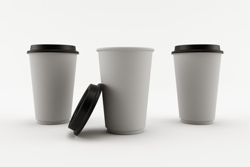 3D render of three paper cups in grey with black caps isolated on white background