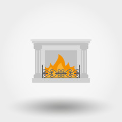Fireplace. Icon. Vector. Flat.
