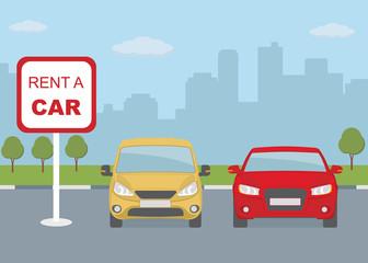 Rent a car concept. Flat style, vector illustration.