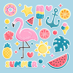 Summer beach elements stickers. Flamingo, ice cream, watermelon, shell, monstera, pineapple. Vector illustration