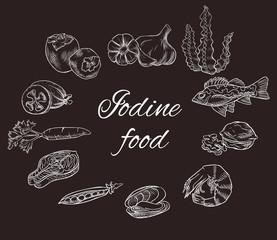 Iodine food vector sketch set, white contour on chalkboard, medicine infographics or diet concept, persimmon, feijoa, sea bass, milk, carrot, garlic, walnut, salmon steak, pea, mussel, shrimp, seaweed