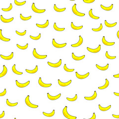 Cute yellow banana, seamless wallpaper, background for boys, girls, clothes. Color backdrop. Funny wallpaper for textile and fabric.Fashion style.Colorful bright