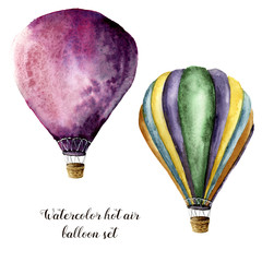 Watercolor hot air balloon set. Hand painted vintage air balloons with. Illustrations isolated on white background.
