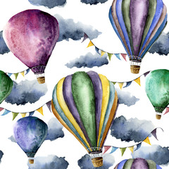 Watercolor pattern with hot air balloons and clouds. Hand drawn air balloons with flags garlands, clouds and retro design. Illustrations isolated on white background