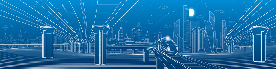 Infrastructure panorama. Road overpass. Transportation bridge. Train rides. Towers and skyscrapers. Urban scene, modern city on background, industrial architecture. White lines, vector design art