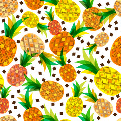 Vector seamless pattern with fresh pineapples isolated on white background. Hand drawn doodle illustration. Trendy design for summer fashion textile prints and backgrounds.