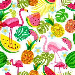 Vector seamless tropical pattern with pink flamingo, palm leaves, watermelon and pineapples. Summer tropical illustration. Trendy design for summer fashion textile prints and backgrounds.