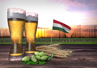 beer consumption in Hungary. 3D render