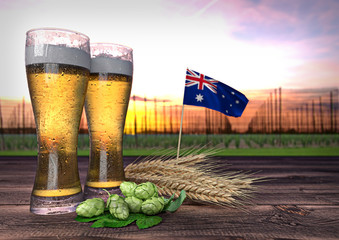 beer consumption in New Zealand. 3D render
