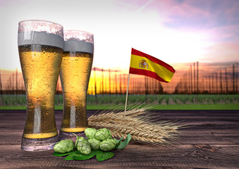 beer consumption in Spain. 3D render
