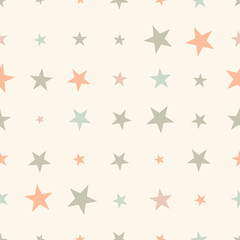 Colorful seamless pattern with halftone stars on background. Star background. Vector illustration.