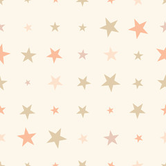 Colorful seamless pattern with halftone stars on beige background. Vector illustration.