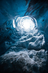 A crystal ice cave in Iceland