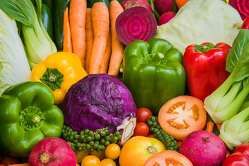 Various fresh vegetables for eating healthy and dieting