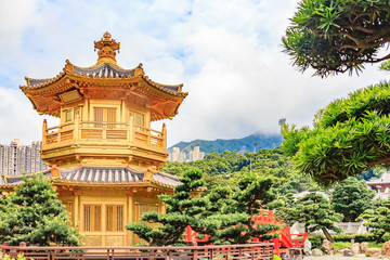 Front View The Golden Pavilion Temple in Nan Lian Garden,This is a government public park, situated at Diamond hill, Kowloon, Hong Kong