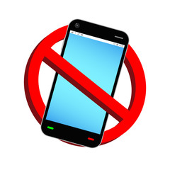 do not use phone prohibition sign vector
