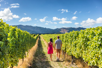 Vineyard couple tourists New Zealand travel visiting Marlborough region winery walking amongst grapevines. People on holiday wine tasting experience in summer valley landscape.