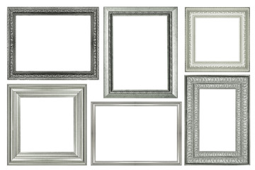 collection of vintage silver and wood picture frame, isolated on white