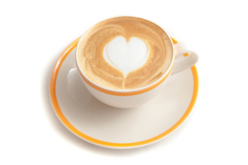 Wall Mural - Coffee cup of latte art heart shape on white background isolated