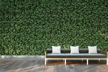 3D illustration : Sofa on wood deck in the garden.