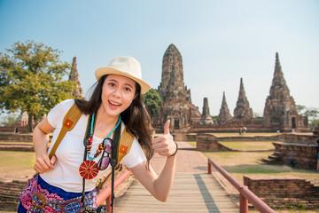 Happy asian tourist girl at ayutthaya