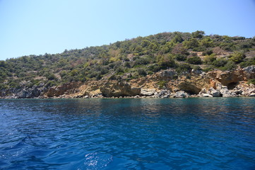 Beautiful Turquoise Cove and Clear Water Near Datca, in Mugla, Turkey