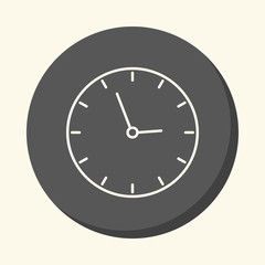 School wall clock, vector circular line icon with the illusion of volume, an element for your school site or booklet