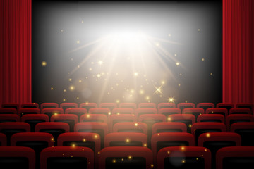 Movie theater background with red curtains, chairs, white screen and magic lights. Vector illustration.