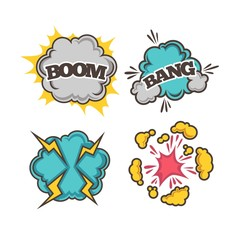 Bang and boom colorful cartoon effects with clouds of dust
